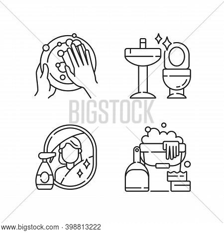 Housewife Chores Linear Icons Set. Dish Washing, Toilet Cleanup, Mirror Washing And Sanitizers Custo