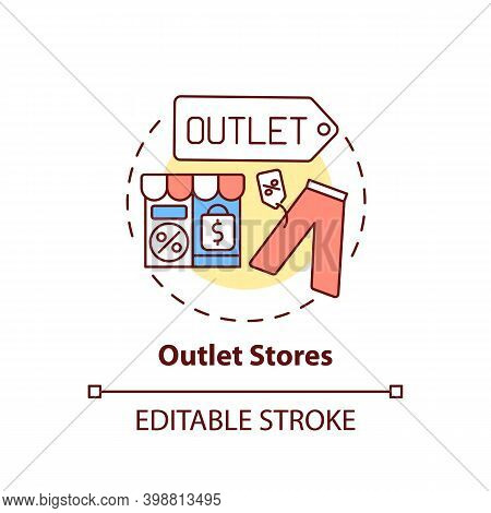 Outlet Stores Concept Icon. Saving Money On Buying Clothing Idea Thin Line Illustration. Low Prices,