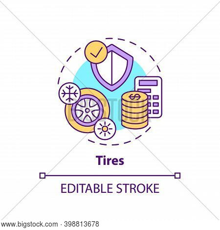 Tires Concept Icon. Spending More For High Quality Product Idea Thin Line Illustration. Auto Accesso