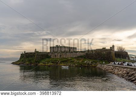 La Coruna, Galicia / Spain - 26 November 2020: View Of The Castelo De San Anton Fortress In The Harb