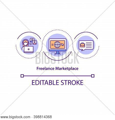 Freelance Marketplace Concept Icon. Digital Business Idea Thin Line Illustration. Cooperation With F