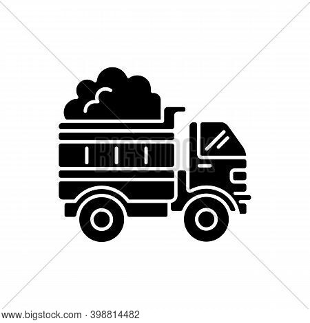 Snow Hauling Black Glyph Icon. Removing Snow After Snowfall To Make Travel Easier And Safer. Reducin