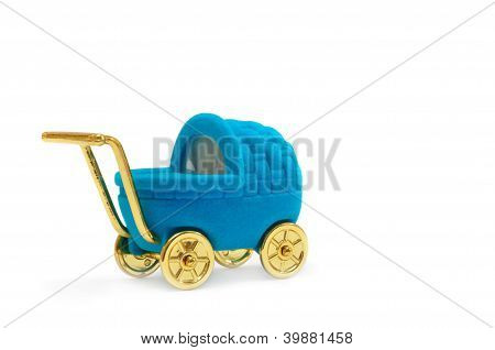 Gift Casket In The Form Of Baby Stroller Isolated