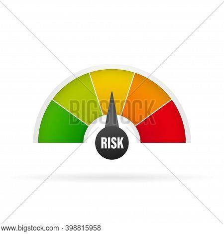 Medium Risk Speedometer. Risk Control Concept Presentation.