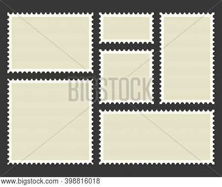 Postage Stamps Template. Blank Rectangle And Square Postage Stamps.