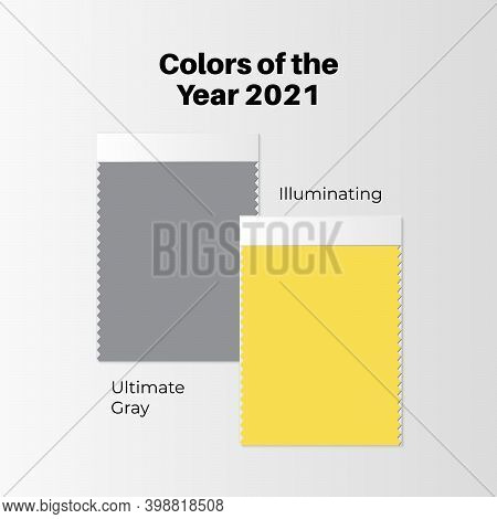 Color Of The Year 2021 Fabric Swatches Or Sample Vector Icon. Fashion Textile Color Board. Ultimate