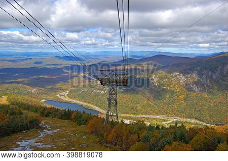 Franconia Notch With Fall Foliage And Echo Lake Aerial View From Cannon Mountain Tramway In Franconi