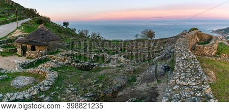 A Panorama View Of The Castro De Santa Tecla In A Guarda In Galicia At Sunrise
