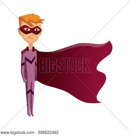 Cartoon Superhero Kid Character. Joyful Kid Wearing Super Hero Costume With Mask And Comic Cloak For