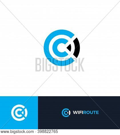 Wi-fi Flat Style Vector Logo Concept. Wireless Signal Isolated Icon. Wifi Abstract Zone Symbol. Lett