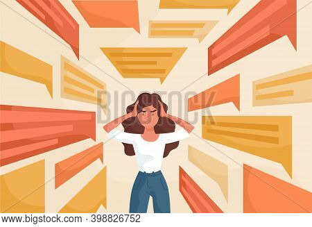 Sad Young Woman Covering Ears With Hands To Stop Flow Of Negative Information. Fake News, Advertisin
