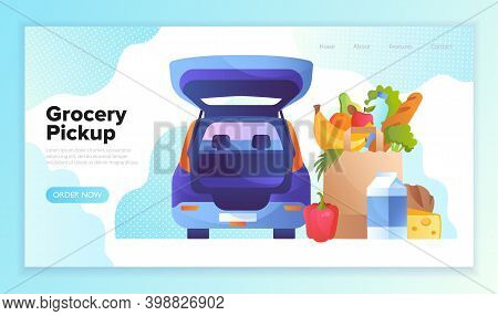 Ordering Groceries Online. Pick Up Point In Food Supermarket. Safe Shopping. Flat Cartoon Vector Ill