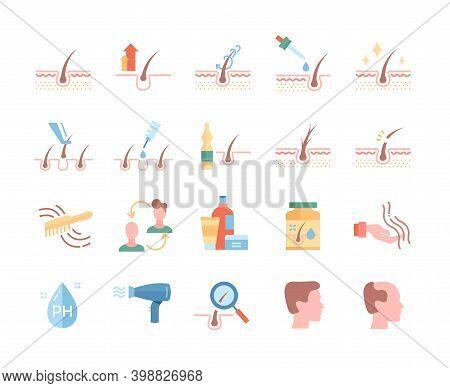 Hair Loss Treatment Colored Flat Line Icons Set. Shampoo Ph, Dandruff, Hair Growth, Keratin, Hair Tr
