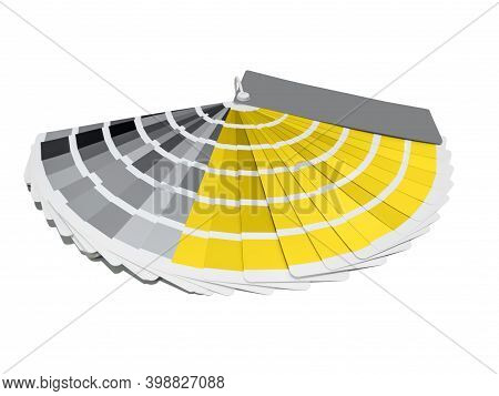 A Palette Of Color Maps, Samples Of Yellow And Gray Shades. Illuminating And Ultimate Gray. Referenc