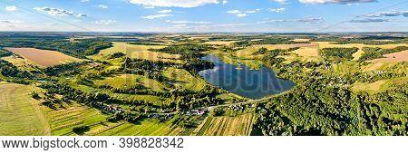 Aerial Landscape Of The Central Russian Upland. Nizhnyaya Vablya Village, Kursk Region