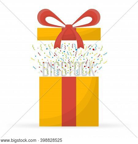 Special Prize, Reward Gifts, Surprising Present Box, Yellow Gifts With Red Ribbon, Bonus Concept.