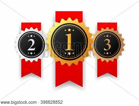 Gold, Silver And Bronze Medal - 1st, 2nd And 3rd Place Awards Set.