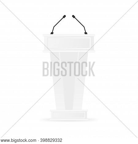 Tribune Isolated Vector. White Clean Podium Tribune Rostrum Stand. With Microphones.