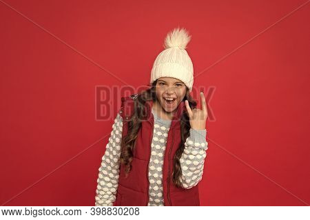 Girl Enjoy Winter. Good Vibes. Cheerful Child In Cosy Knitted Outfit. Winter Fashion. Childhood Happ