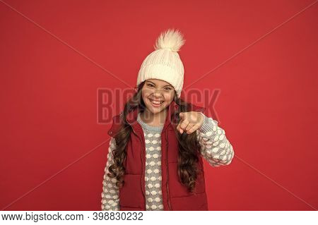 Hey You. Winter Fashion. Childhood Happiness. Positive Concept. Winter Accessories. Good Mood. Emoti