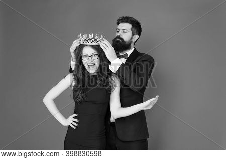 Achievement. Promotion And Reward. Prom Queen. Bearded Man Sexy Girl. Royal Party. Prom Couple In Fo