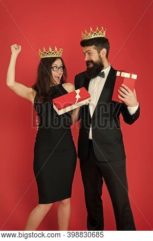 Reward Celebration. Happy Couple Celebrate Success. Sexy Woman And Bearded Man Wear Crowns. Best Emp