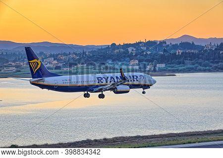 Corfu, Greece, September 28, 2019: Ryanair Boeing Ei-frh Taking Off At Runway Of The International A