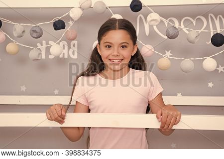 Adorable Girly Kid. Happy Girl In Night Nursery. Cute Look Of Small Girl. Little Girl Feel Comfy At