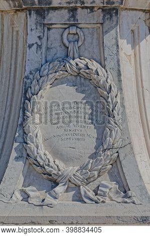 Corfu, Greece, September 28, 2019: Marble Statue Of The Count Johann Matthias Reichsgraf Von Der Sch