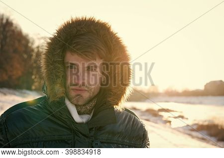 Wind Resistant Clothes. Winter Weather Conditions. Polar Explorer. Sunny Winter Day. Winter Menswear