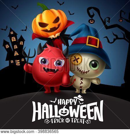 Halloween Vector Template Design. Happy Halloween Text With Demon, Bear And Pumpkin Lantern Characte