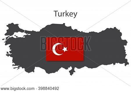 Turkish Flag Symbol. Modern Cartoon Icon With Turkish Map Symbol. Stock Image.