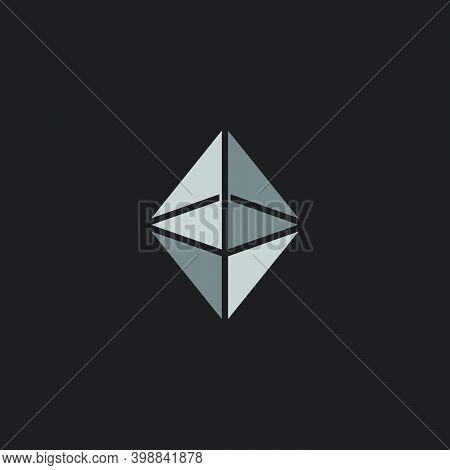 Vector Of 3d Flat Prism Symbol Simple Geometric Logo