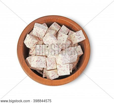 Top View, Cube Of Taro Root In Wooden Bowl Isolated On White Background