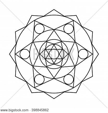 Geometric Pinion Circle Vector Mandala Coloring Book