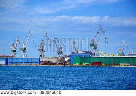 Harbour of Pula at the Adriatic sea , Croatia, Europe