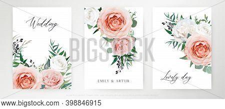 Elegant Romantic Vector Watercolor  Floral Bouquet Card, Invite, Banner Template Set. Blush Peach, P