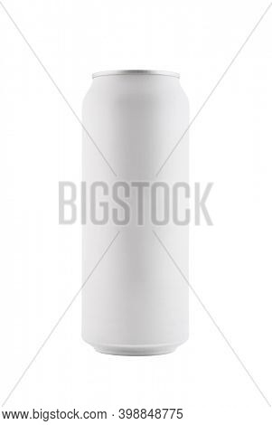 White blank aluminum can with beverage isolated on white background with clipping path