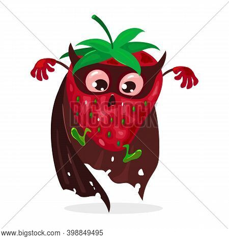Mellow Superhero Summer Fruit With Green Tail In Coat And Eye Bandage. Vector Fresh Mellow Fruit, He