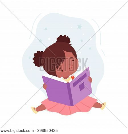 Lovely Girl Reading Book, Kid Sitting On Floor With Book, Literature Fan, Education And Imagination