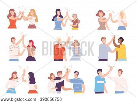 Happy People Characters Giving High Five To Each Other Vector Illustration Set