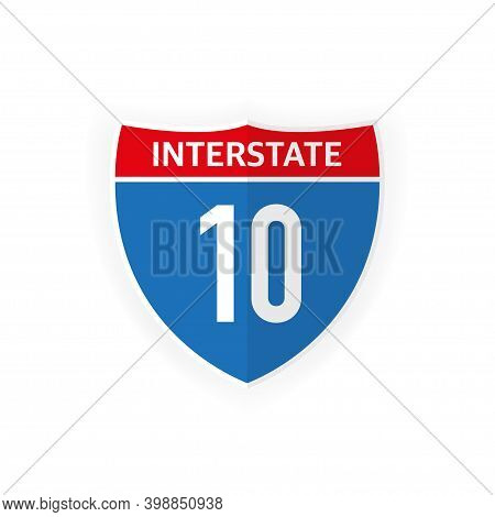 Interstate Highway 10 Road Sign Icon Isolated On White Background. Vector Illustration.