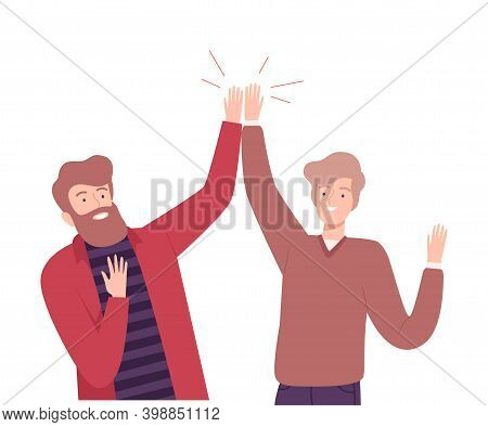 Excited Men Giving High Five To Each Other Vector Illustration