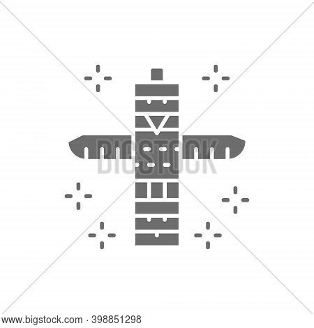 Traditional Animal Totem Pole, Native Indian Totem Grey Icon.