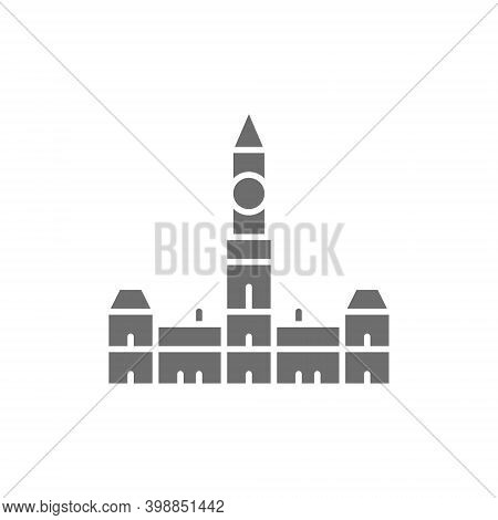 Parliament Hill, Ottawa Grey Icon. Isolated On White Background