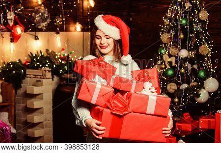 Bring Magic Into Someone Elses Life. Lady Santa Celebrate Christmas At Home. Girl Stylish Makeup Red