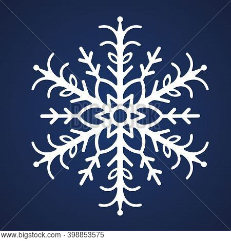 Snowflake. Festive Ornament. Vector Illustration. Isolated Blue Background. Flat Style. A Fragile Cr