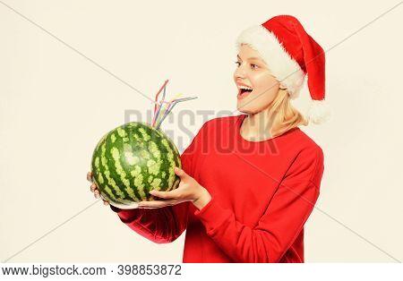 Rich Vitamin Ration Concept. How Detox After Christmas. Winter Vitamin Fruit Ration. Girl Wear Santa