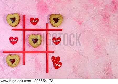 Tic-tac-toe Game. Valentines.