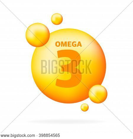 Shiny Fish Oil Nutrition, Omega 3, For Good Health Isolated On Transparent Background. Vector Illust